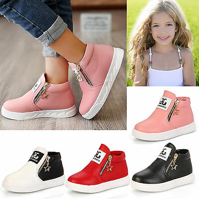 New Boys Girls Kids Toddler PU Leather Zipper Ankle Boots Hi Top Trainers Shoes