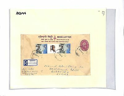 AQ194 1992 NEPAL Kathmandu to Guernsey Registered Cover