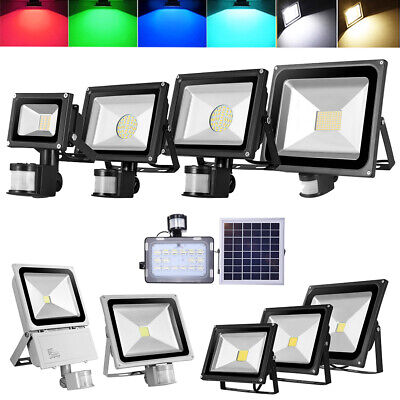 LED Floodlights 10W 20W 30W 50W 100W Solar Powered PIR Sensor RGB Garden Outdoor