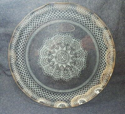 "Vintage Fiesta Chance Glass Large Plate 12.5"" Charger White Lace Gold Rim 60's"