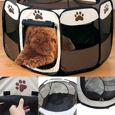 Foldable Fabric Pet Play Pen Dog Cat Puppy Playpen Run Cage Kennel Tent Fence