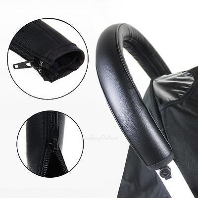 Baby Pram Stroller Pushchair Armrest Arm Handle PU Leather Protective Case Cover