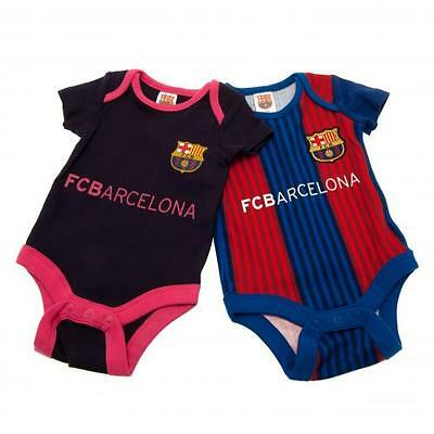 Official Licensed Product FC Barcelona 2 Pack Bodysuit 9 / 12 Months VS Babygrow