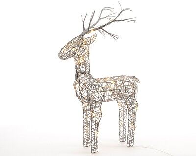 83cm Tall Wicker grey Reindeer Lit  with  Warm White LED Lights stag Christmas