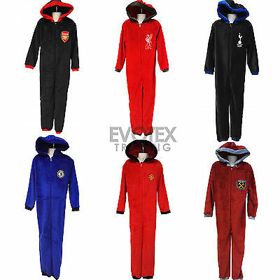 Childrens Boys Official Football Fleece Hooded Onesie All In One Age 3-13 Years