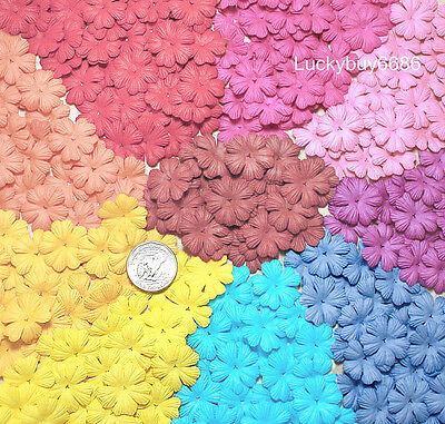 100 Mix Heart Flower Scrapbook Craft Mulberry Paper Artificial Card Wedding 26mm