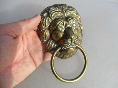 Large Lions Head Handle Pull Loop Vintage Old Architectural Antique