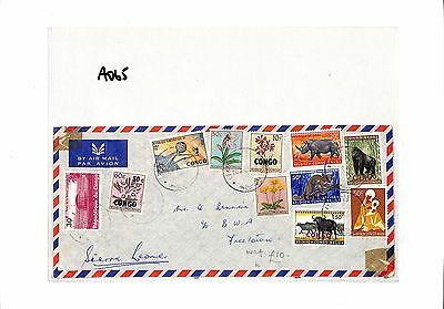 AO65 1965 CONGO to Sierra Leone Freetown Airmail Cover