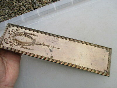 Antique Finger Plate Push Door Handle Architectural Vintage 1906 J.W.B Beading
