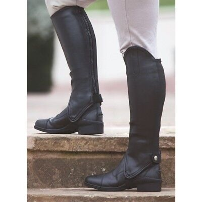 Shires Equestrian Horse Riding Synthetic Leather Show Adults Half Chaps Gaiters
