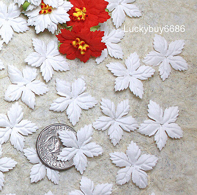 100 White Mulberry Paper Christmas Poinsettias Flower Scrapbook Craft Card DIY