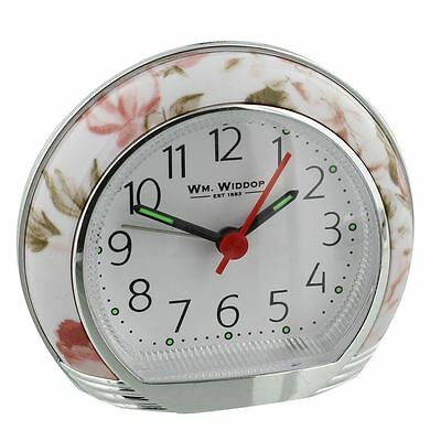 Wm.Widdop Floral / Flower Alarm Clock with Light, Snooze & Silent Sweep Movement