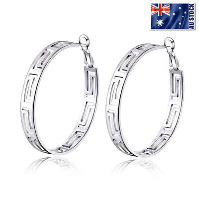 Women's New 925 Sterling Silver Filled 45mm Big Round Hoop Earrings Greek Style