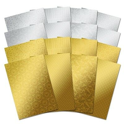 Hunkydory Crafts MIRRI TEXTURES STUNNING SILVER GLAM GOLD 16 x A4 Card 220gsm