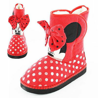 Girls Disney Minnie Mouse Norton Boots Fur Inside Red Polka Dots Size 11