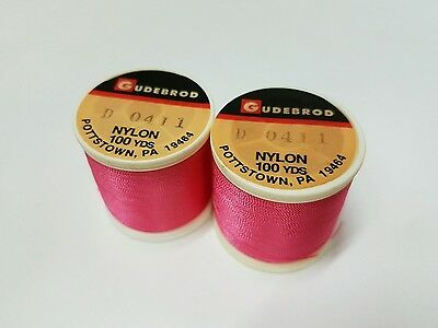 2 Spools of Gudebrod (Hot Pink #0411) Size D Nylon Thread 100YDS (Rodbuilding)