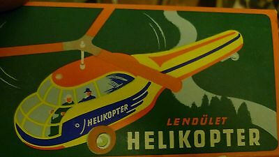 Lendulet Helikopter Tin Litho-graph Friction Toy Made in Hungary