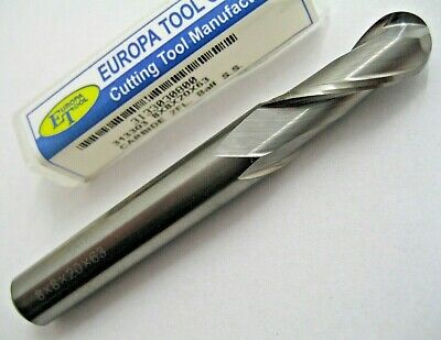 8mm SOLID CARBIDE BALL NOSED 2 FLUTED SLOT DRILL MILL EUROPA TOOL 3133030800 #32