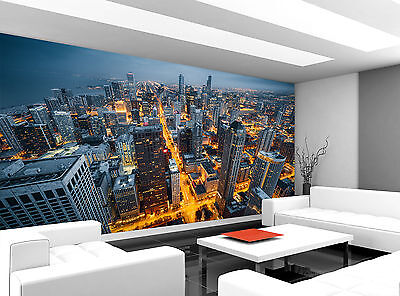 Chicago Skyline City Night Wall Mural Photo Wallpaper GIANT WALL DECOR