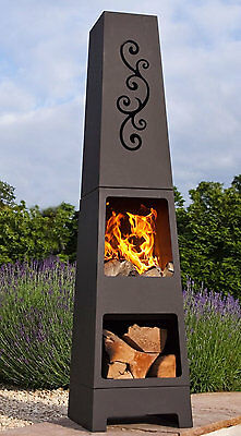 La Hacienda Manoa Black Steel Garden Chiminea With Laser Cut Design 150cm High.