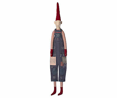 Maileg-Danish Nisse Pixy Christmas Advent Calendar-Boy-Grey Patchwork Dungarees