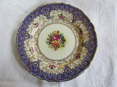 Vintage Royal Worcester Display Plate Flowers Gold and Blue
