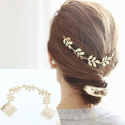 Fashion Womens Gold Metal Tassel Leaf Comb Cuff Chain Jewelry Headband Hair Band