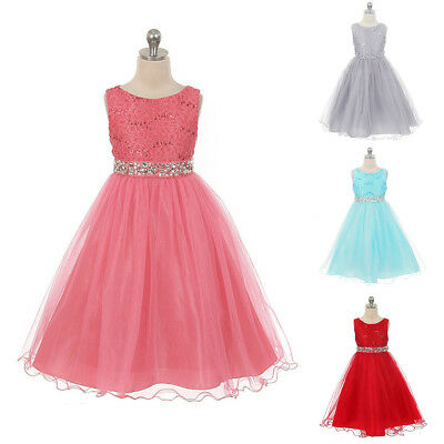 Girl Lace Princess Dress Kid Party Pageant Wedding Bridesmaid Tutu Dresses Gown