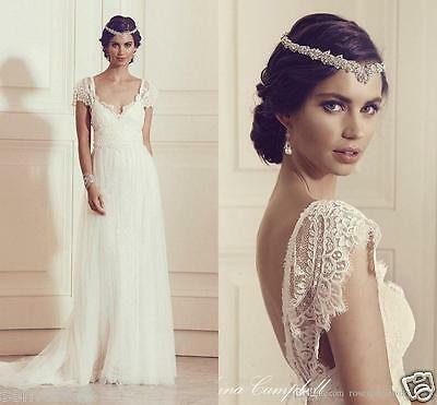 Long Simple Sexy V Back Lace Wedding Dresses Appliques Boho Beach Bridal Gowns