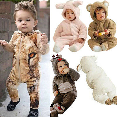 Newborn Baby Boy Girl Kids Clothes Winter Warm Romper Snowsuit Outwear Jumpsuit