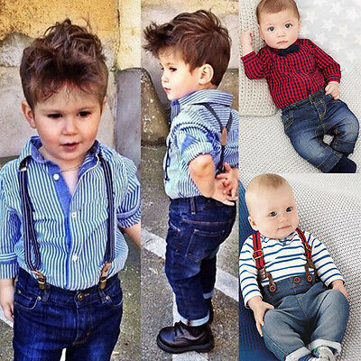 Kids Baby Boy Long Sleeve T-shirt Tops+Strap Jeans Pants Outfits Clothes 2PCS UK