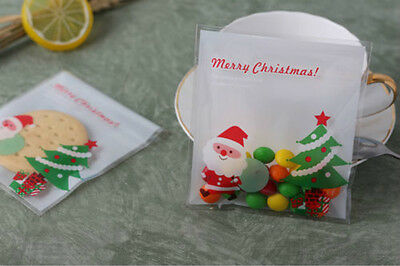 25pcs/lot Plastic Fine Christmas Gifts Bake Biscuit Cookies Candy Package Bag