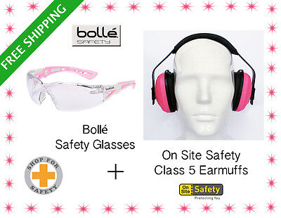 Eye and Ear Safety Kit * Bolle RUSH Plus Clear Safety Glasses +Class 5 Earmuffs