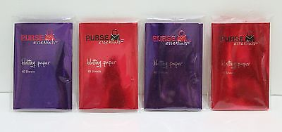 4x PURSE ESSENTIALS Blotting Paper Unscented For Face  Red And Purple 160ct