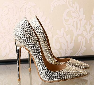Womens Pointed Toe High Heel Slip On Party Stilettos New Patent Leather Shoes 42