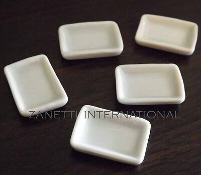 5 Dollhouse Miniature White Ceramic Plates / Dishes Set * Doll Mini Food Tray