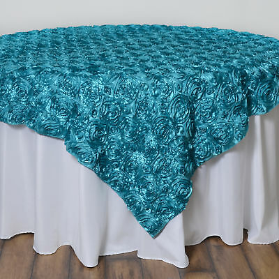 "72x72"" Turquoise SATIN Raised Roses TABLE OVERLAYS Unique Wedding Party Toppers"