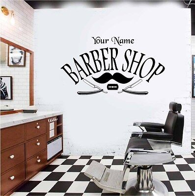 Barber Shop Personalised Wall Art Sticker/Decal