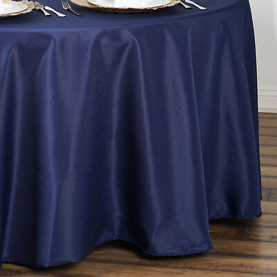 "10 NAVY BLUE 90"" ROUND POLYESTER TABLECLOTHS Wholesale Catering Supplies SALE"