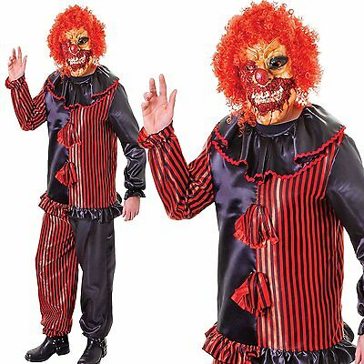 adult scary zombie clown fancy dress halloween circus horror costume w mask