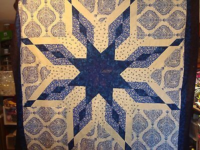 FOREVER BLUE STAR QUILT TOP - Not Quilted, Machine pieced, Made in the USA