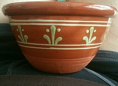 Redware round bowl J.D. Huntley Wisconsin Pottery 1995