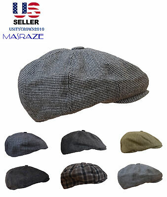 8 Panel Newsboy Hat Gatsby Cap Warm Wool Blend Driving Flat Cabbie  Golf Masraze