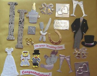 25 Wedding Theme Mix Card Making Scrapbooking Craft Embellishments & Toppers