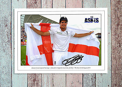 Alastair Cook England Cricket The Ashes 2015 Autographed Signed Photo Print