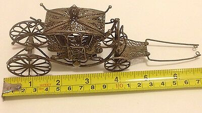 Antique Sterling Silver Filigree Carriage Intricate W/ Moveable Parts #100616