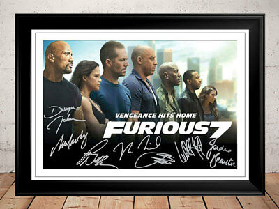 Fast And Furious 7 Dwayne Johnson Paul Walker Signed Movie Photo Print