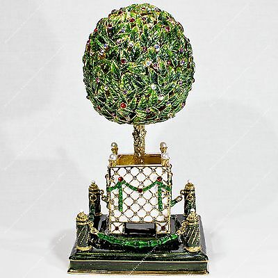 5.4'' Easter Enameled Bay Orange Tree Music Egg Russian Traditions Of Faberge