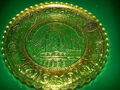 Vintage y,g,o glass Ben Franklin Ship mini plate coaster Westmoreland