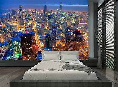 City Buildings Chicago Skyline Night Wall Mural Photo Wallpaper GIANT WALL DECOR